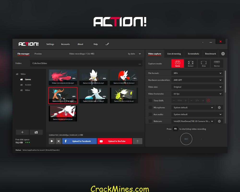 action - gameplay recording and streaming crack